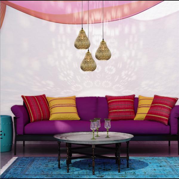 Hanglamp Vintage Jasmin Goud (sfeer)
